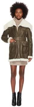 Jil Sander Navy Lambskin Leather Coat