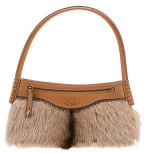 Tod's Leather-Trimmed Fur Bag