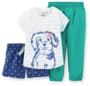 Carter's 3-Piece Jersey PJs Dog Stripe Teal