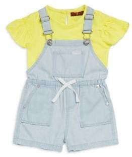 7 For All Mankind Baby's& Little Girl's Two-Piece Overall Set