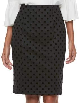 Elle Women's ElleTM Polka-Dot Pencil Skirt