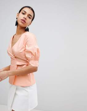 Fashion Union Wrap Front Top With Balloon Sleeves