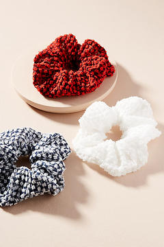 Anthropologie Chiffon Seersucker Pony Holder Set