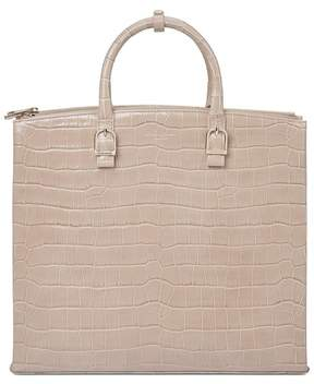 Aspinal of London Editors Tote In Deep Shine Soft Taupe Croc