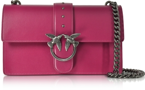 Pinko Love Simply Fuchsia Leather Shoulder Bag