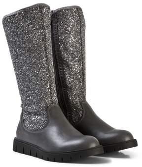 Lelli Kelly Kids Black Glitter Leather Tall Boots