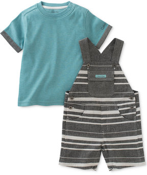 Calvin Klein 2-Pc. T-Shirt & Striped Overall Set, Baby Boys (0-24 Months)
