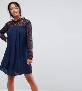 Elise Ryan Petite High Neck Swing Dress With Lace Upper