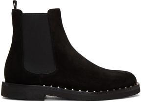 Valentino Black Garavani Studded Suede Chelsea Boots