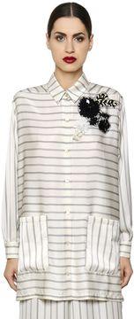 Antonio Marras Embroidered Striped Techno Satin Shirt