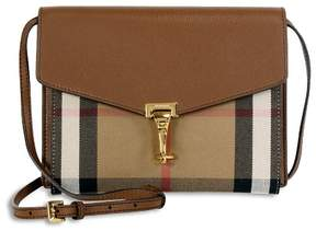 Burberry Small Leather House Check Crossbody Bag - Tan