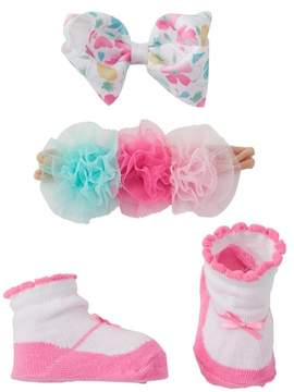 Little Me Triple Tulle Pomom Flowers Headband, Floral Print Bow Clip, & Booties Set (Baby Girls)