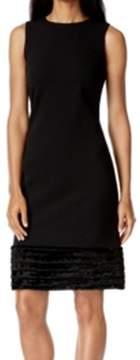 Calvin Klein Black Women's Size 10 Faux Fur Trim Sheath Dress