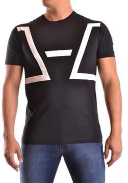 Les Hommes Men's White/black Cotton T-shirt.