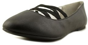 Nine West Ginger Youth Round Toe Synthetic Black Ballet Flats.