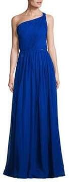 Aidan Mattox Pleated Silk One-Shoulder Gown