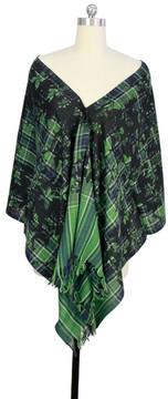 Saachi Green Black Plaid Wool Scarf