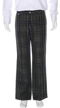 Dries Van Noten Plaid Linen-Blend Pants