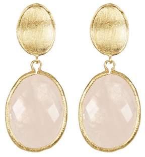 Rivka Friedman Faceted Rose Quartz Oval Drop Satin Earrings
