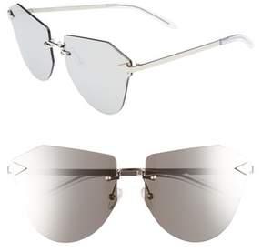 Karen Walker Women's Dancer 64Mm Mirrored Lens Rimless Sunglasses - Silver/ Clear