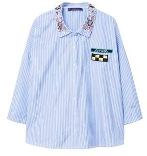 Violeta BY MANGO Patches striped shirt