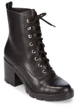 Marc Fisher Wanya Stacked Heel Leather Boots