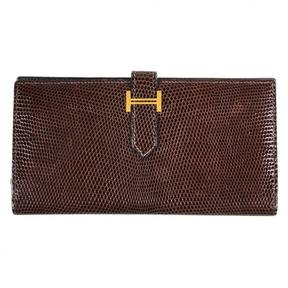 Hermes Béarn lizard wallet - BROWN - STYLE