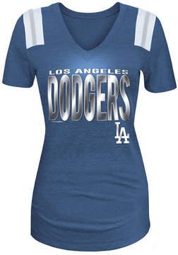 5th & Ocean Women's Los Angeles Dodgers Foil Shoulder Stripe T-Shirt