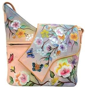 Anuschka Women's Genuine Leather Shoulder Bag | Hand Painted Original Artwork | Asymmetric Crossbody Flap Closure |