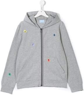 Lanvin Enfant Teen logo lettering zip-up hoodie