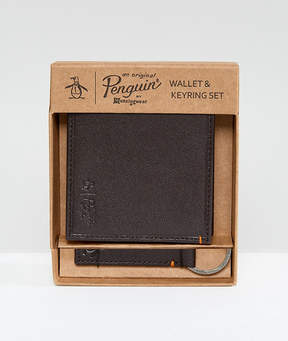 Original Penguin Wallet And Keychain Set In Brown