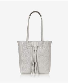 GiGi New York | Hannah Tote In Oyster Embossed Python | Oyster embossed python