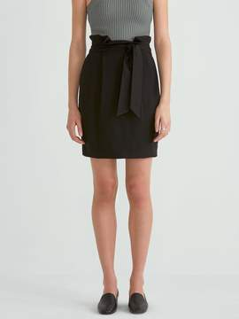Frank and Oak Paper Bag Tencel Skirt in True Black