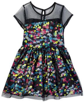 Betsey Johnson Printed Sateen & Glitter Mesh Dress (Little Girls)