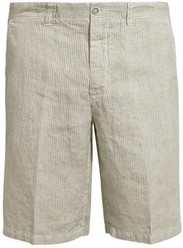120% Lino 120 LINO Mid-rise slim-leg striped linen shorts