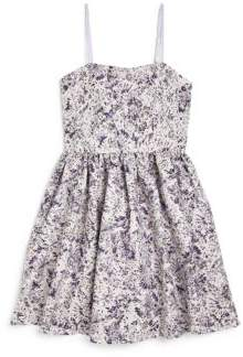 Un Deux Trois Girl's Printed Jacquard Party Dress