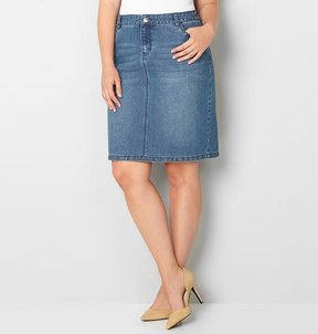 Avenue Denim Skirt with Grommet Trim