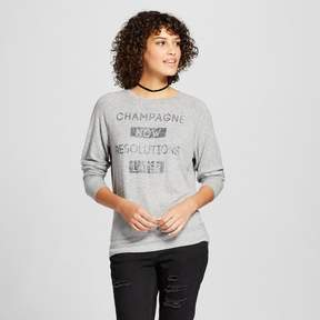 Fifth Sun Women's Champagne Now Resolutions Later Graphic Sweatshirt Gray