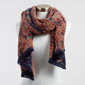World Market Navy and Rust Floral Tile Reversible Scarf