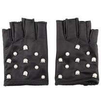 Karl Lagerfeld Women's Black Leather Gloves.