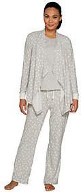 Carole Hochman As Is Stretch Waffle Fleece 3-Piece Pajama Set