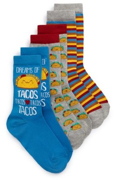 Tucker + Tate Boy's 3-Pack Taco Dreams Crew Socks