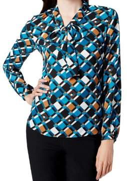 Nine West Women's Tie Neck Geometric Print Blouse