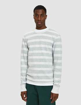 Reigning Champ Striped Terry Crewneck in Heather Ash/Court Green