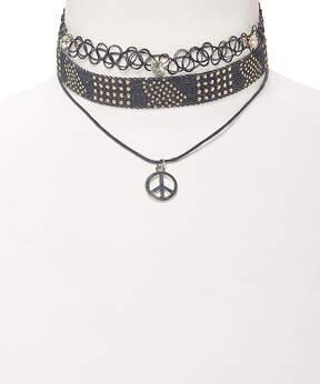Carole Goldtone Stud Peace Denim & Black Tattoo Choker Necklace