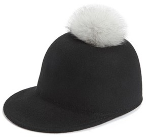 Halogen Women's Faux Fur Pom Jockey Cap - Black