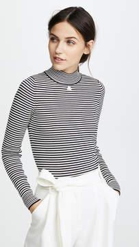 Courreges Funnel Neck Striped Pullover
