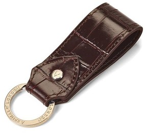 Aspinal of London Leather Loop Keyring In Deep Shine Amazon Brown Croc
