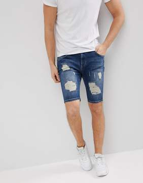 SikSilk Super Skinny Denim Shorts In Blue With Distressing