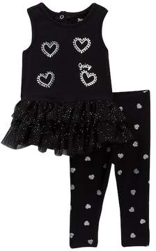 Juicy Couture Heart Mesh Bottom Tunic & Glitter Print Legging Set (Baby Girls 3-9M)